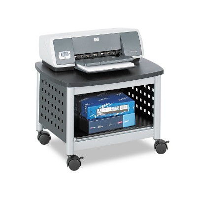 Safco Scoot Printer Stand 20-1/4w x 16-1/2d x 14-1/2h Black/Silver 1855BL