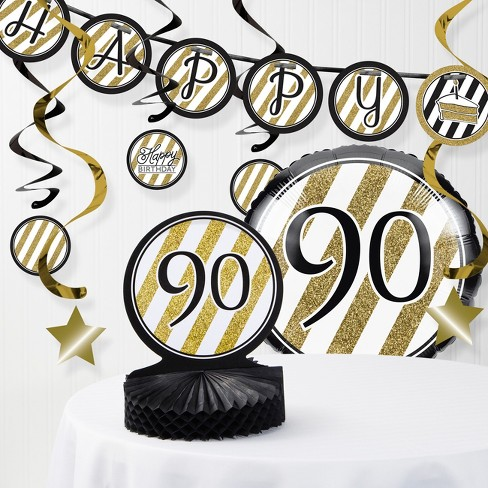90th Birthday Party Decorations Kit Black Gold Target