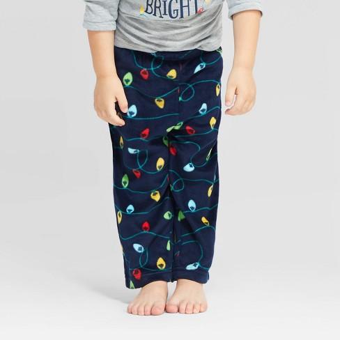 Toddler Holiday Twinkly Light Fleece Pajama Pants - Wondershop™ Navy - image 1 of 3