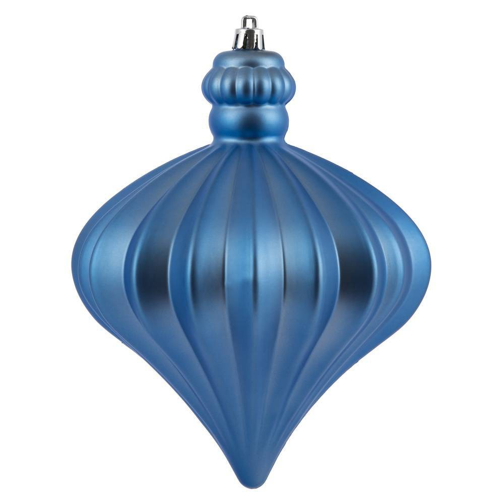 "Image of ""4ct Vickerman 6"""" Matte Onion Drop Ornament Set Periwinkle"""