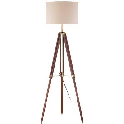 Possini Euro Design Modern Tripod Floor Lamp Cherry Wood Beige Linen Drum Shade for Living Room Reading Bedroom Office
