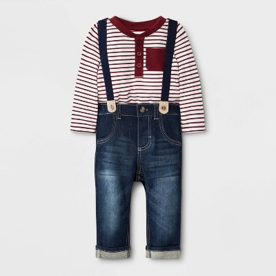 Baby Boys' Striped Top with Denim Suspenders Bottom Set - Cat & Jack™ Maroon/Blue Newborn