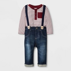 Baby Boys' Striped Top with Denim Suspenders Bottom Set - Cat & Jack™ Maroon/Blue