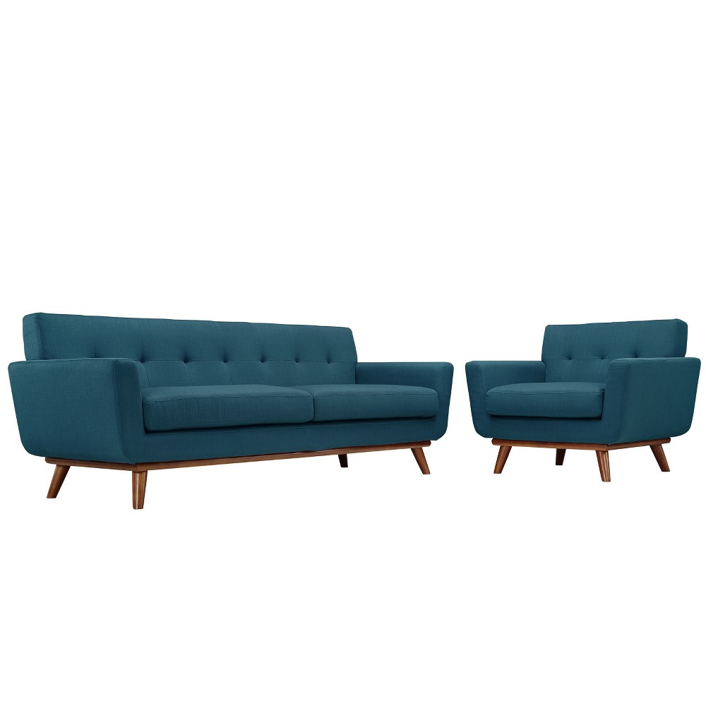 Engage Armchair and Sofa Set of 2 Azure (Blue) - Modway