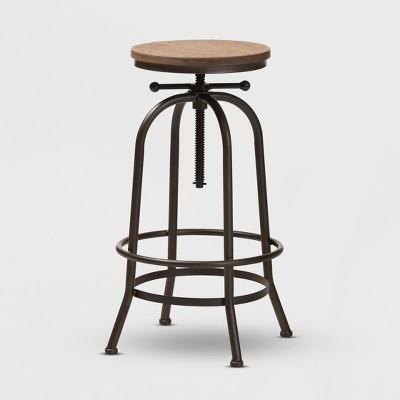 Aline Wood and Rust Finished Steel Adjustable Swivel Barstool Brown - BaxtonStudio