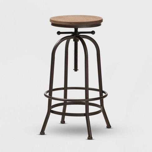 Strange Aline Wood And Rust Finished Steel Adjustable Swivel Bar Stool Brown Baxtonstudio Forskolin Free Trial Chair Design Images Forskolin Free Trialorg