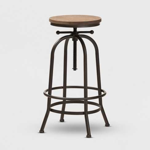 Superb Aline Wood And Rust Finished Steel Adjustable Swivel Bar Stool Brown Baxtonstudio Beatyapartments Chair Design Images Beatyapartmentscom