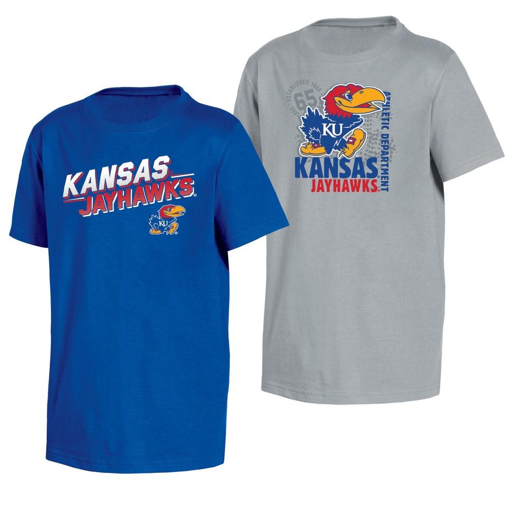 Kansas Jayhawks Double Trouble Toddler Short Sleeve 2pk T-Shirts 4T, Toddler Boy's, Multicolored