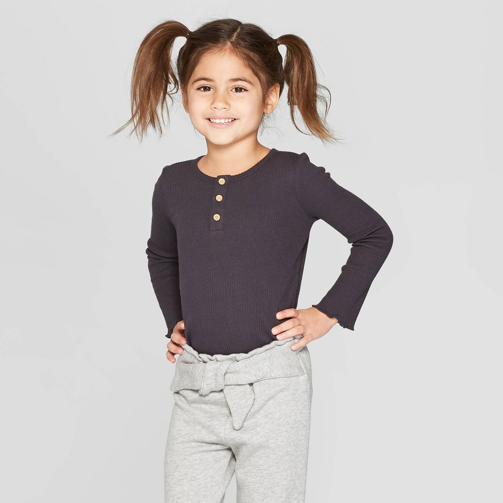 06b29a49b59fc4 ... Black 2T Bring versatile wear and cute style to her everyday wardrobe  with this Long Sleeve Rib Henley Shirt from art class. Made from a soft, ...