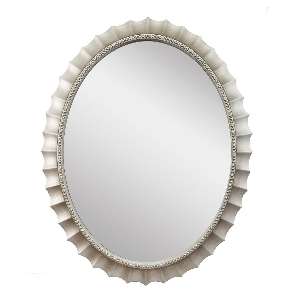 "Image of ""31"""" x 39"""" Audrey Oval Brushed Silver Framed Beveled Glass Wall Mirror - Alpine Art and Mirror, Soft Silver"""
