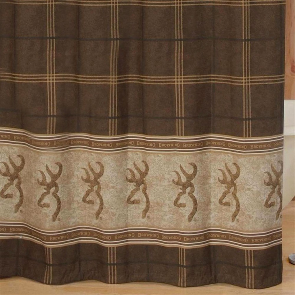 Image of Browning Buckmark Shower Curtain Brown - Browning