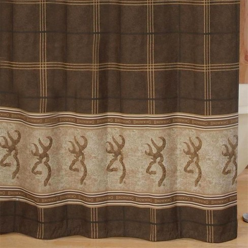 Browning Buckmark Shower Curtain Brown