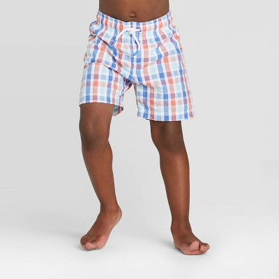 Toddler Boys' Plaid Seersucker Swim Trunk - Cat & Jack™ Blue 12M