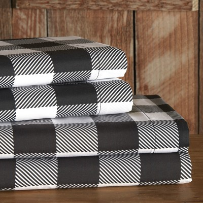 Lakeside White and Black Buffalo Check Bed Sheet Set with Pillowcases