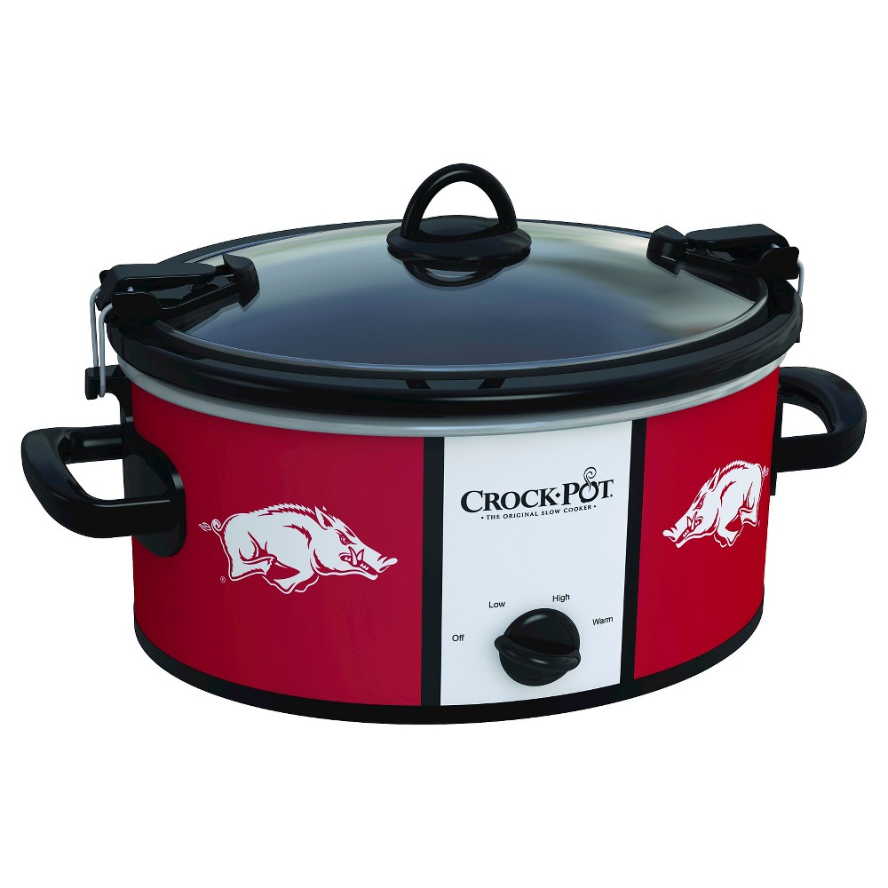 Arkansas Razorbacks NCAA Crock-Pot Cook & Carry Slow Cooker, SCCPNCAA600-Uar, Arkansas Maroon The Crock-Pot Cook and Carry Slow cooker is just as convenient at home in the kitchen as it is on the road. The stoneware transfers easily from your slow cooker to the table or refrigerator. Both the stoneware and the glass lid are dishwasher-safe, making clean-up simple. Crock-Pot Slow Cookers make cooking easy, but the Crock-Pot NCAA Cook and Carry Slow Cooker makes it easy to get your dish from here to there while showing team pride. Color: Arkansas Maroon.