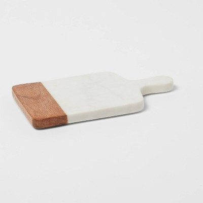 """10"""" x 6"""" Marble and Wood Serving Board - Threshold™"""