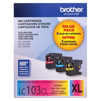 Brother 103XL High Yield C/M/Y 3pk Ink Cartridges - Cyan,Magenta,Yellow (LC1033PKC)