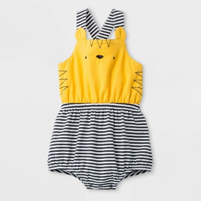 Baby Girls' Cross Back  Tiger Face  Jersey Romper - Cat & Jack™ Yellow Newborn