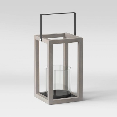 """12"""" Small Wood and Glass Outdoor Lantern Gray - Threshold™"""