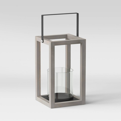Wood and Glass Outdoor Lantern Gray - Threshold™ - image 1 of 2