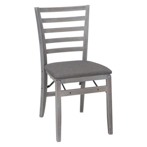 2pc Contoured Back Wood Folding Chair With Fabric Seat Gray Cosco Target