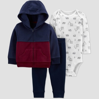 Baby Boys' Colorblock Hoodie Top & Bottom Set - Just One You® made by carter's Red/Blue 3M