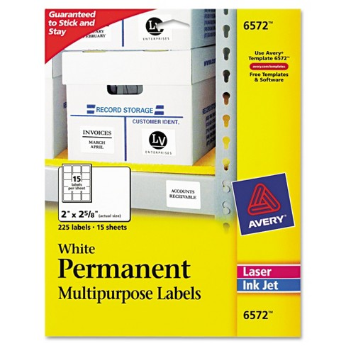 Avery® 06572, Permanent ID Labels, Laser/Inkjet, 2 x 2 5/8, White, 225/Pack - image 1 of 2