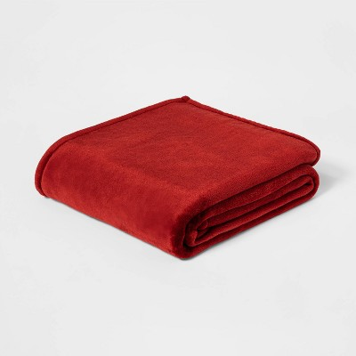 Full/Queen Solid Microplush Bed Blanket Cinnamon Red - Threshold™