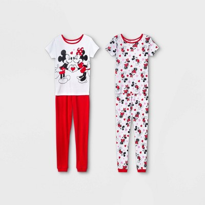 Girls' Minnie Mouse 4pc Pajama Set - White/Red
