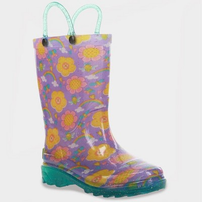 Toddler Girls' Western Chief Ellery Glitter Light-Up Rain Boots - Purple