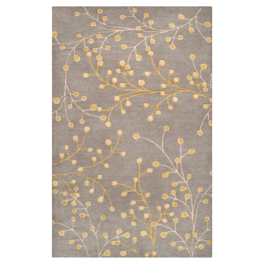 Medium Gray/Taupe (Medium Gray/Brown) Botanical Area Rug (9'x12') - Surya