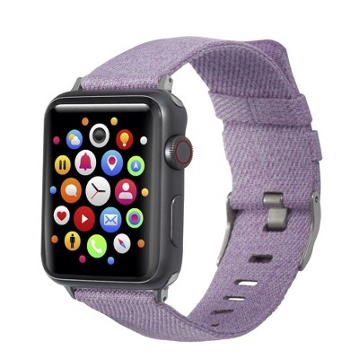 Insten Canvas Woven Fabric Band for Apple Watch 38mm 40mm All Series SE 6 5 4 3 2 1, For Women Girls Replacement Strap, Lavender Purple