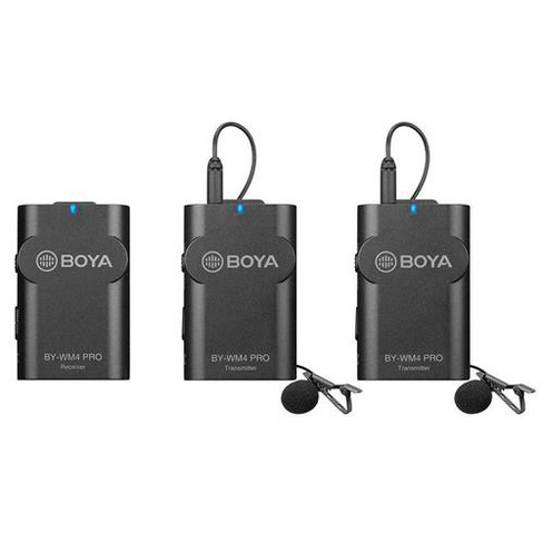 BOYA BY-WM4 PRO K2 Dual-Channel Digital Wireless Microphone System for DSLRs and Smartphones, Includes 2x Transmitter, 1x Receiver & Lavalier Mic - image 1 of 4