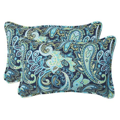 2pk Outdoor Rectangle Throw Pillow Navy Turqouise Paisley Pillow