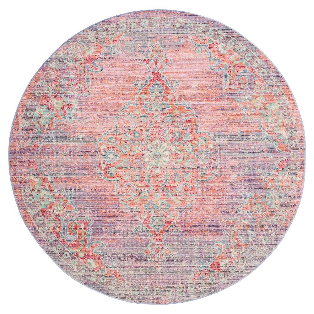 Lavender/Fuchsia (Purple/Pink) Medallion Loomed Round Area Rug 6' - Safavieh