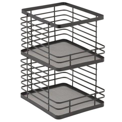 Mdesign Metal Stackable Food Organizer Storage Bin Open Front 2 Pack Black Target