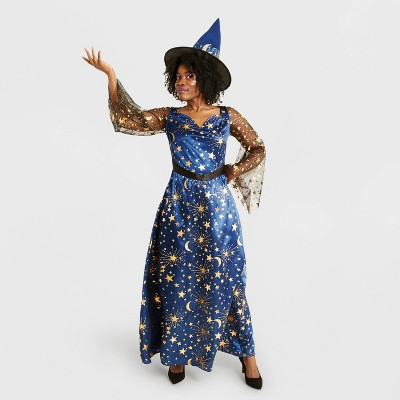 Adult Navy Moonlight Witch Halloween Costume with Hat - Hyde & EEK! Boutique™