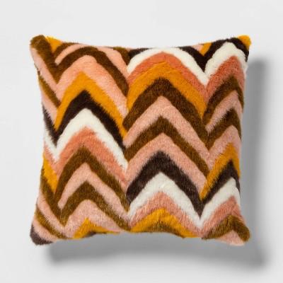 Euro Faux Fur Chevron Decorative Throw Pillow Blush - Opalhouse™