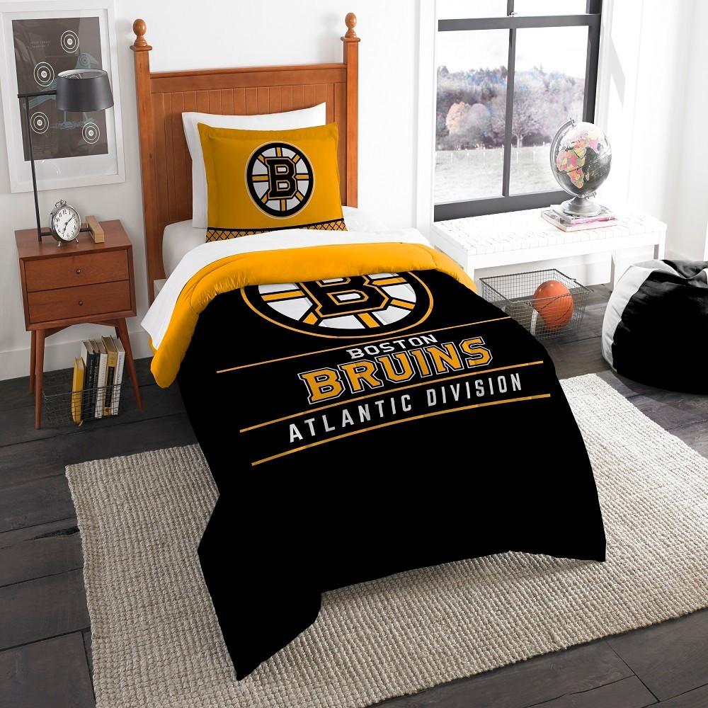 Nhl Boston Bruins Northwest Draft Twin Comforter Set