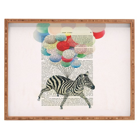 Coco de Paris Flying Zebra Rectangle Tray - Red - Deny Designs® - image 1 of 1