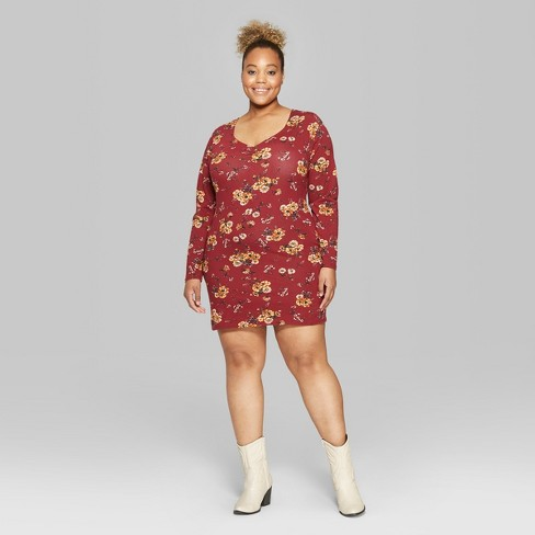 15d21bbd03e Women s Plus Size Floral Print Long Sleeve Ruched...   Target
