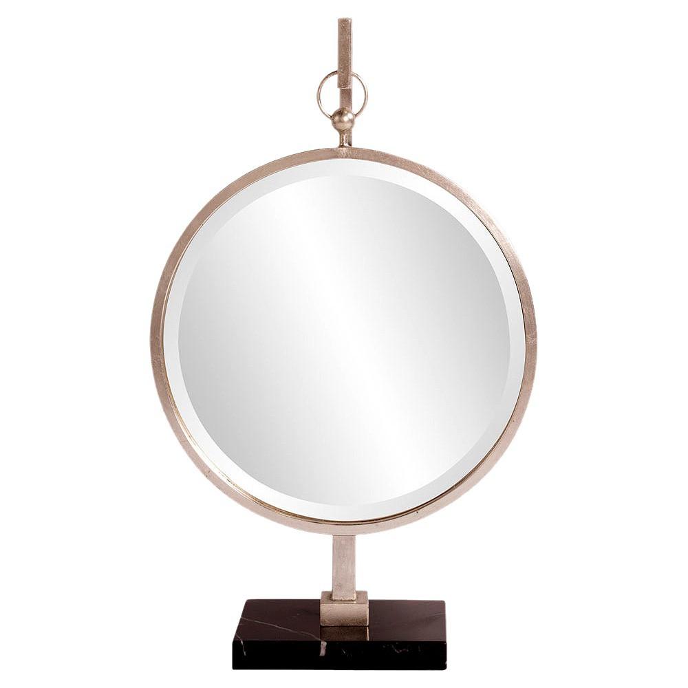 Round Medallion Decorative Wall Mirror Silver - Howard Elliott, Light Silver
