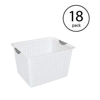 Sterilite Deep Ultra Plastic Storage Bin Organizer Basket w/ Handles (18 Pack)