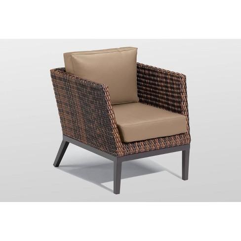 Salino Woven Club Chair - Resin Wicker Sable - Oxford Garden - image 1 of 2