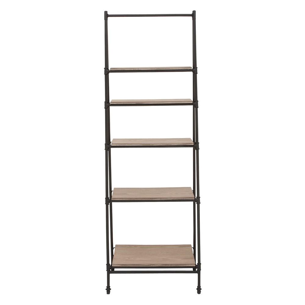 72 Metal and Wood 5 Shelf A Frame Book Stand Black - Olivia & May