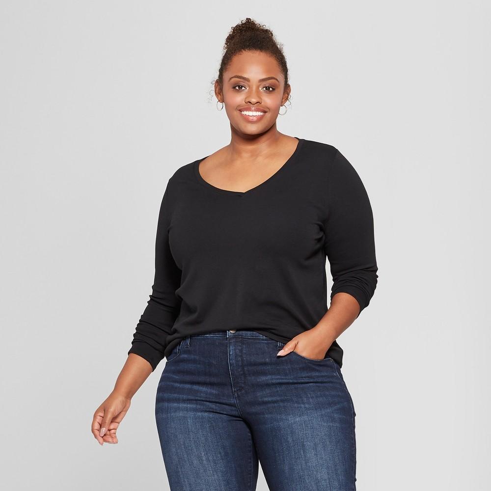 Women's Plus Size Long Sleeve V-Neck T-Shirt - Ava & Viv Black 1X