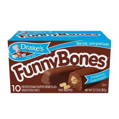 Drake's Funny Bones Frosted Peanut Butter Crème Filled Devils Food Cakes - 10ct/13.03oz