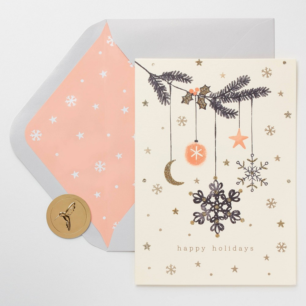 Image of 10ct Papyrus Happy Holidays Snowflake Ornament Christmas Greeting Cards