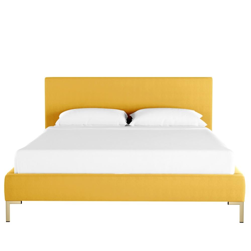 King Platform Bed Yellow Velvet - Opalhouse