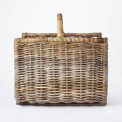 """20"""" x 15"""" Rattan Woven Log Holder with Handle Gray/Natural - Threshold™ designed with Studio McGee"""